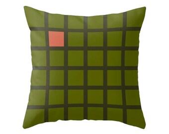 Green Grid pillow Grid cushion grid decor geometric pillow geometric green pillow green cushion black cushion green grid cushion Latte Home
