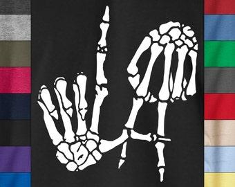 L.A. Los Angeles SKELETON HANDS Soft Ringspun Cotton T-Shirt Kobe Bryant