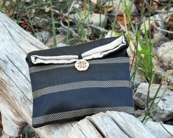 Striped Silk Clutch