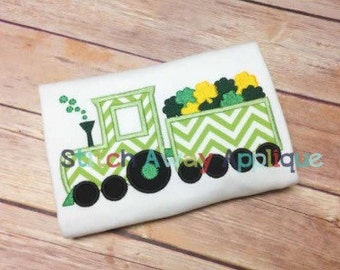 SAMPLE SALE: Personalized Appliqued Train with Shamrocks on Tshirt or Bosysuit, Free Shipping