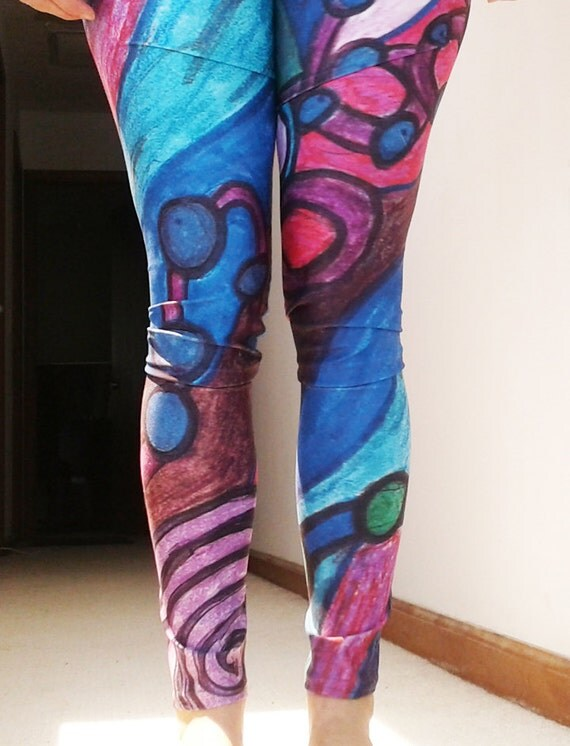 Colorful Psychadelic Leggings - DNA Wormhole for festivals, yoga, EDM, fitness, dance and more