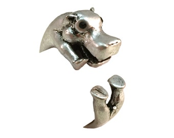 Hippo Ring- Antiqued Silver Toned - Adjustable - Feet Version