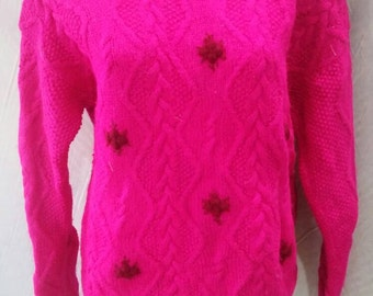 Hand dyed flouro pink vintage cableknit jumper with rose detail