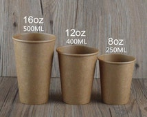 50 x 8oz/12oz/16oz Party Cups,Kraft Paper Cups, Brown Paper Cups,Party Favors TZ742
