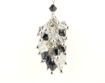 Silver 925 Swarovski grey Crystal and Crystal cluster necklace