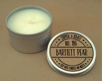 No. 186 BARTLETT PEAR // 8 oz. Soy Candle Tin // Highly Scented Candles // Hand Poured Soy Candles