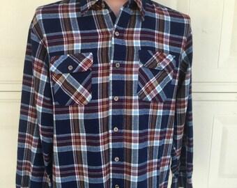 Vintage 70s Blue Plaid Flannel Shirt Button Up Oversize Size Large