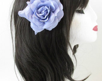 Lilac Purple Large Rose Flower Hair Clip or Brooch Vintage 1950s Bridal Prom Rockabilly j99