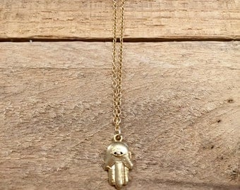 Gold Hamsa Charm Necklace