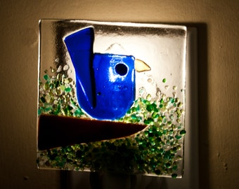 Blue Bird Handmade Fused Glass Night Light