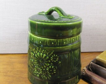 Green Glazed Ceramic Wooden Bucket Look Canister