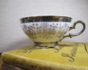 Schirnding - Pattern SCG26 - Footed Teacup - White with Silver Flowers and Leaves - Heavy Platinum Accent