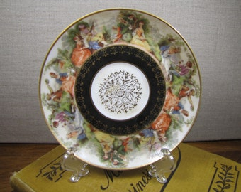 Ardalt - Lenwile China - 6320 - Small Saucer - Black and Gold Accent - Colonial People - Made in Occupied Japan