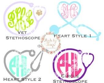Stethoscope Monogram Decal