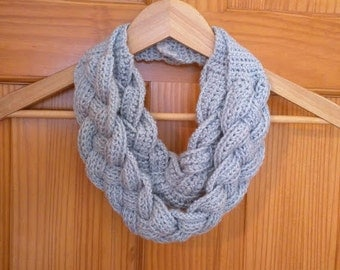 Crochet Double Layered Braided Cowl in Silver Blue