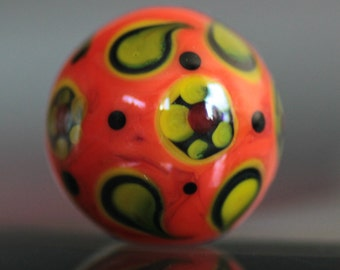 Handmade Lampwork Glass Focal Bead 18x19 mm Red Carrot Yellow Black Colour