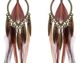 Statement Feather Earrings - Feather Earrings, Bohochic Earrings, Bohemian Earrings