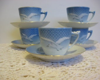 Royal Copenhagen Vintage China Teacup and Saucer Set,Group of 5,Seagull Pattern, Made inDenmark, Bing & Grondahl,Blue,White,Gold Trim