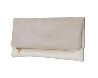Suede faux clutch