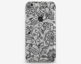Clear Flower iPhone Case Floral iPhone 7 Transparent iPhone 6 Flower Case iPhone 7 Plus Case iPhone SE Clear iPhone 4S Case iPhone 5 Cover