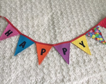 Happy Birthday reversible fabric bunting banner / party decor