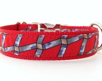 Red Designer Dog Collar, Red and Blue Dog Collar, Modern Red Collar, Geometric Dog Collar, Male Dog Collar, Female Dog Collar