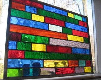 Brightly Colored stained glass panel window gorgeous!!
