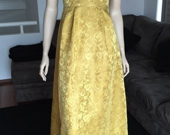 Vintage 70's Gold Brocade Formal Gown Dress With Matching Wrap S