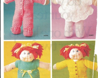 Vintage Cabbage Patch Clothes Knit and Crochet Patterns Family Circle 1985