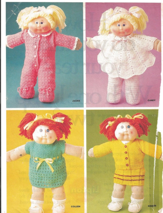 vintage cabbage patch clothes knit and crochet patterns family