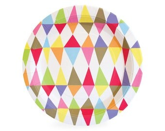 Colorful Carnival Caos Dessert Plates {NEW!} | Rainbow, Triangles, Circus, Geometric