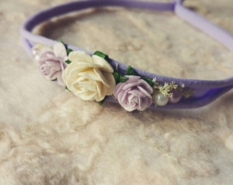 Baby Newborn Lilac Floral Rose Headband Photography Photo Prop - Hair Accessory