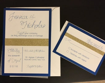 Blue and Gold Wedding Invitation set