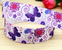 "7/8"" Grosgrain Ribbon Pretty Purple Butterfly 3 yards bow supplies, pet collars"