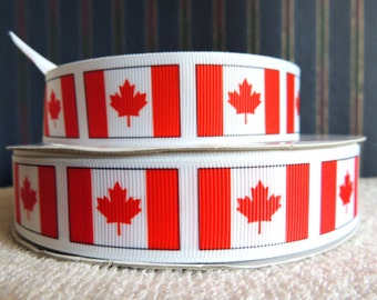 "Canadian Flag Printed Grosgrain Ribbon 3 yards-your choice, 1"", 7/8"" or 3/8"""