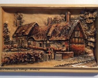 Antique Ann Hathaway's Cottage - Shorrery Osborne Ivorex Three Dimensional Wall Plaque 1915