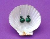 Sterling silver earrings with semi-precious Malachite gemstone beads. Hypoallergenic. Zodiac birthstone Scorpio and Capricorn. Emerald green