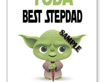 star wars yoda stepdad birthday card 7x5 birthday card