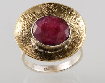 AAA quality natural ruby ring in 925 sterling silver