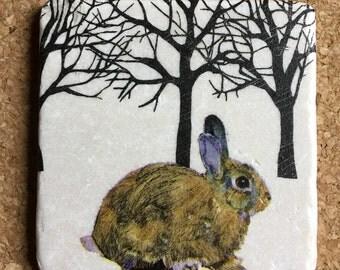 Rabbit Coasters ~ Set of 4 Stone Coasters ~ Winter Coasters ~ Winter Solstice ~ Bunny Coasters