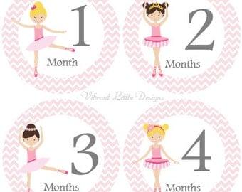Monthly Baby Stickers Girl, Milestone Stickers, Month Stickers, Baby Month Stickers, Baby Stickers, Ballerina, Dance #4