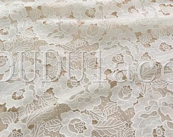 Ivory Flower Scallop Lace Fabric Crochet Dress Lace Fabric Bridal Wedding Dress 1 Yard S0283