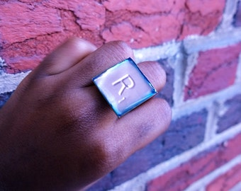 Scrabble Copper Embossed Ring R
