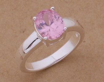 Round Simulted Pink Topaz Sterling Silver Ring