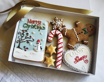 Personalized Merry Christmas Gingerbread Cookie Gift Box