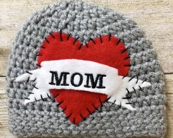 I Love Mom Boy Crochet Hat, I Heart Mom Boy Crochet Hat, Newborn Crochet Hat, Baby Tattoo Crochet Hat, Photo Prop, Biker Baby Hat