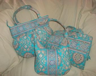 Vera Bradley Totally Turq Medium Shoulder Bag/Small Shoulder Bag/Hanging Travel Organizer