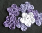 Purple violet Flowers, Applique, Scrapbooking, Mother's Day, embellishment, Crochet Flowers. Handmade flowers, wedding, gift, Made In Canada