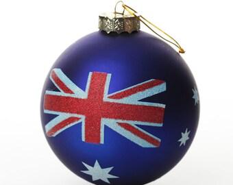 Handpainted Aussie Flag Glass Bauble