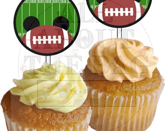 Digital File : Mickey Mouse Football cupcake toppers